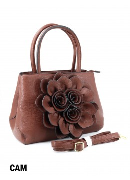 Premium Flower Lady Tote W/Zip Closure & Long Strap - Camel