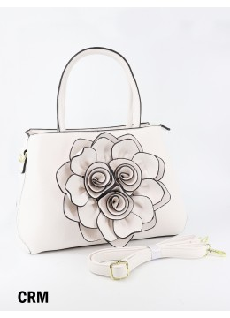 Premium Flower Lady Tote W/Zip Closure & Long Strap - Cream