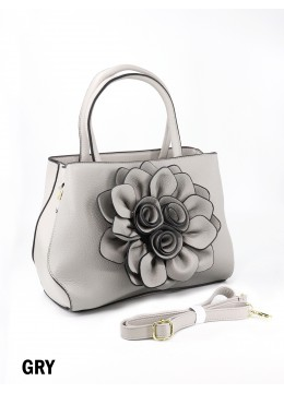 Premium Flower Lady Tote W/Zip Closure & Long Strap - Grey