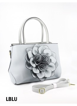 Premium Flower Lady Tote W/Zip Closure & Long Strap - Light Blue
