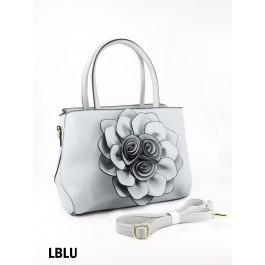 Premium Flower Lady Tote W/Zip Closure & Long Strap - Light Blue