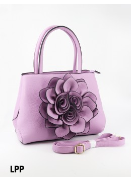 Premium Flower Lady Tote W/Zip Closure & Long Strap - Light Purple