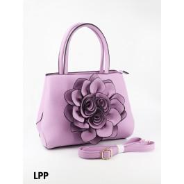 Premium Flower Lady Tote W/Zip Closure & Long Strap - Light Purple