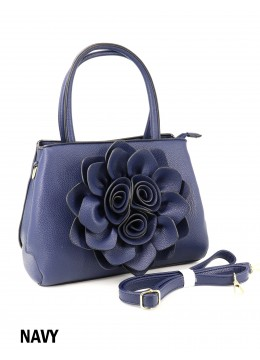 Premium Flower Lady Tote W/Zip Closure & Long Strap - Navy