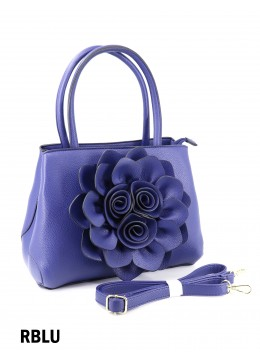 Premium Flower Lady Tote W/Zip Closure & Long Strap - Royal Blue