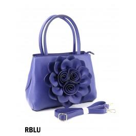 Premium Flower Lady Tote W/Zip Closure & Long Strap - Royal Blue