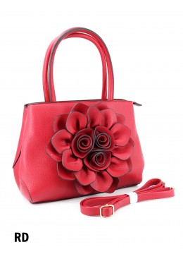 Premium Flower Lady Tote W/Zip Closure & Long Strap - Red