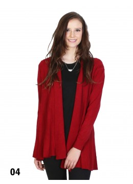 Pleated Knit Fashion Open-Front Outerwear