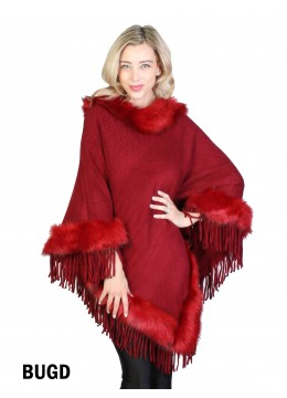 Cozy Poncho W/ Fur and Tassels