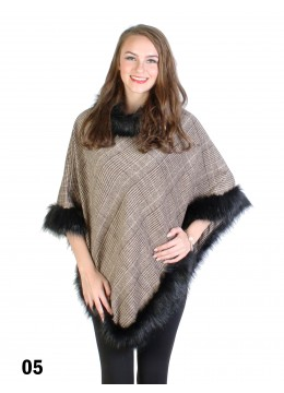 Checked Print Poncho W/ Fur Edge