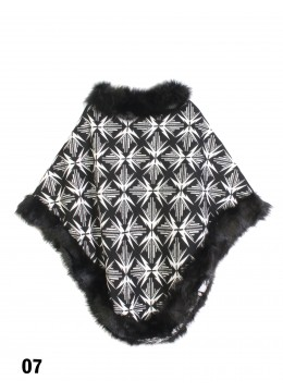 Geometric-Pattern Poncho W/ Fur Edge