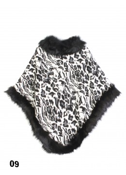 Black & White Leopard Print Poncho W/ Fur Edge
