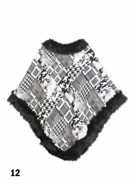 Black & White Chic Imitative Poncho W/ Fur Edge