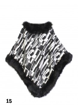 Domino Poncho W/ Fur Edge