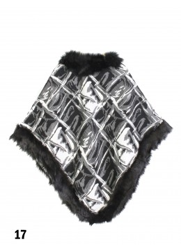 Black & White Abstract Plaid Poncho W/ Fur Edge