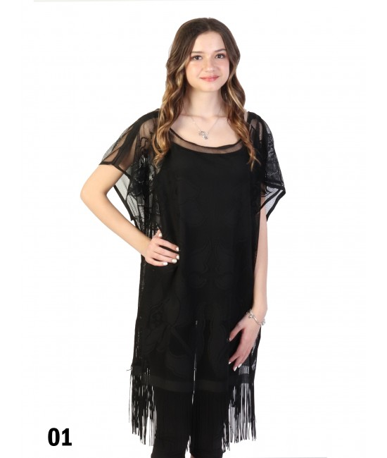 Embroidery Mesh Top W/ Fringe
