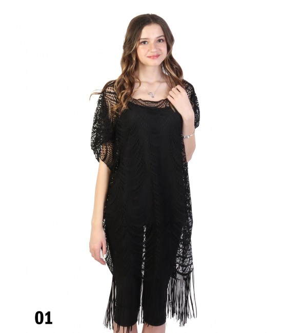 Loose Lace Top W/ Fringes /Black