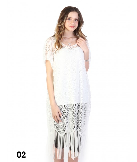 Loose Lace Top W/ Fringes /White