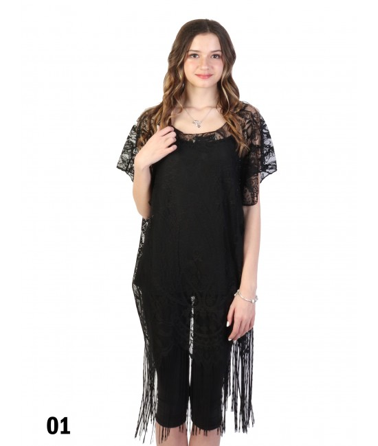 Loose Embroidery Lace Top W/ Fringes /Black