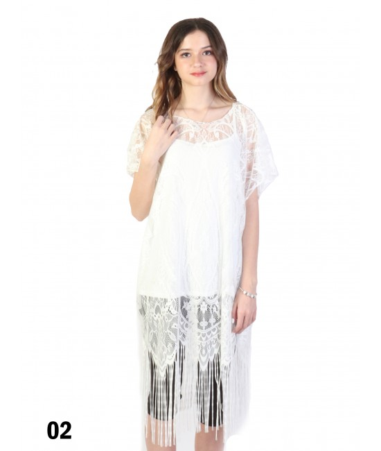 Loose Embroidery Lace Top W/ Fringes /White