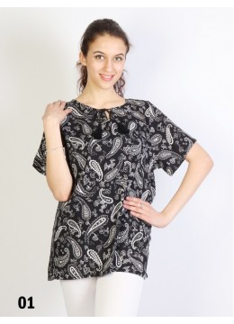 Paisley Printed Short Sleeves Top /Black