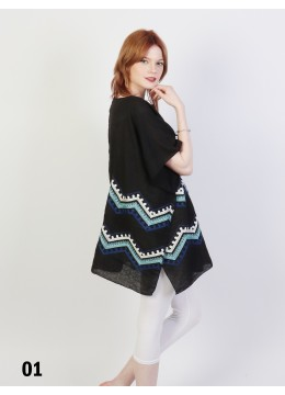 Waves Embroidery Short Sleeves Top /Black