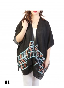 Abstract Embroidery Kimono /Black