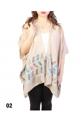 Abstract Embroidery Kimono /Taupe