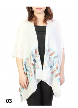 Abstract Embroidery Kimono /White