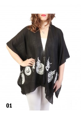 Peacock Feather Embroidery Kimono /Black