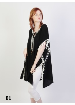 Short Sleeve Loose Bohemian Fashion Top With Tassels /White