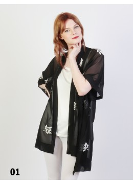 Maple Leaves Embroidery Chiffon Kimono /Black