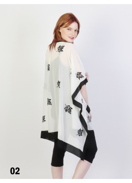 Maple Leaves Embroidery Chiffon Kimono /White