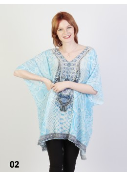Short Sleeve Loose Fit Bohemian Rhinestone Fashion Top