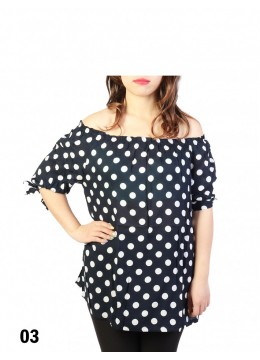 Off-the-Shoulder Polka Dot Blouse W/ Ribbon Detail /Navy