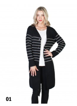 Stripe Front Open Sweater