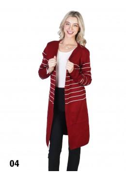 Stripe Front Open Sweater