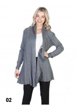 Mercerized Cotton Open Knit Cardigan