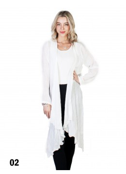 Solid Long-Sleeved Maxi Cardigan /White