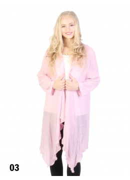 Solid Long-Sleeved Maxi Cardigan /Pink