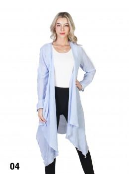 Solid Long-Sleeved Maxi Cardigan /Light Blue