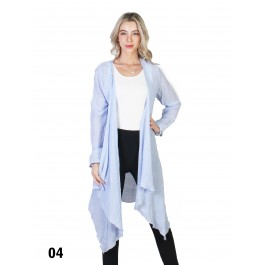 Solid Long-Sleeved Maxi Cardigan /Light Blue