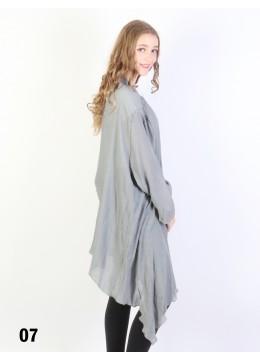 Solid Long-Sleeved Maxi Cardigan /Grey