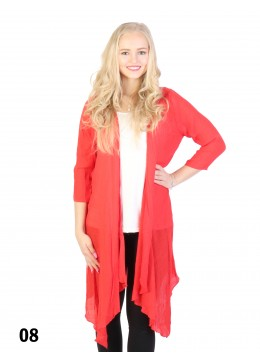 Solid Long-Sleeved Maxi Cardigan /Red
