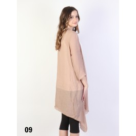 Solid Long-Sleeved Maxi Cardigan /Taupe