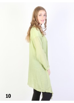 Solid Long-Sleeved Maxi Cardigan /Light Green