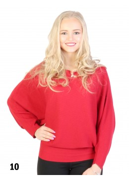 Batwing Pullover Loose Top /Red