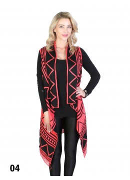 Reversible Abstract Zigzag Print Wrap