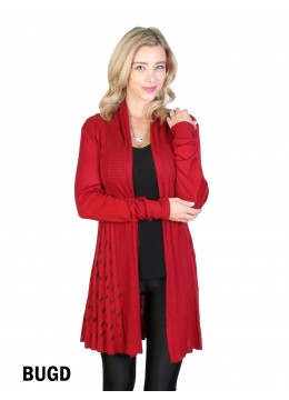 RIBBED KNIT FRONT OPEN CARDIGAN