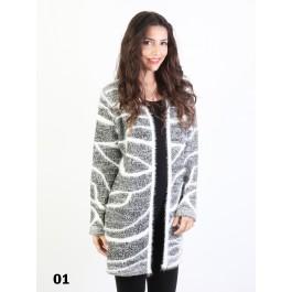 Faux Mohair Zebra Printed Cardigan